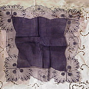Vintage Austrian Pure Linen Handkerchief w Cotton Lace, Navy Blue