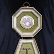 Hand-Enameled Porcelain Plaques in Goldtone Mounts, Fragonard Inspired Scenes