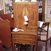 Elegant English Yew Wood Desk, Inlaid Oval Panels on Doors, Burton Reproductions