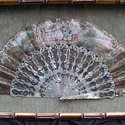 SALE Exquisite H/P French Fan in Shadowbox Frame, Pierced MOP Sticks, Elaborate Rocaille Decor