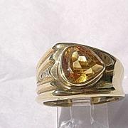 18kt Vintage Citrine/Diamond Ladies Ring