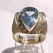 14kt Pear Shape Sky Blue Topaz/Multi Diamond Ladies Vintage Ring - Custom Made