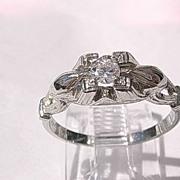 18kt Gold Diamond Engagement Vintage Ring