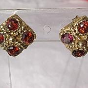 14kt Multi Vibrant Garnet Vintage Stud Earrings