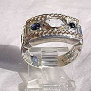 SOLD Sterling Silver/Rose Gold Aquamarine/Sapphires Artisan Ladies Ring