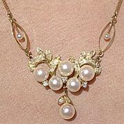 14kt Vintage Culture Pearl & Diamond Lavaliere/Necklace