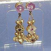 Silver/Vermeil Glamorous Multi Gemstone Slide Dangle Earrings