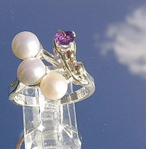 Silver/10kt Gold Artisan Multi Pearl/Amethyst Ladies Ring