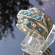 Sterling Silver Artisan Triple Turquoise/Seed Pearl Stacking Ladies  Rings