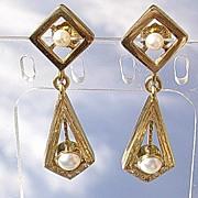 14kt  Vintage Multi Pearl/Diamond Dangle Earrings
