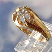 14kt Vintage 1/4 Carat Diamond Unisex Ring