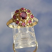 14kt Vintage Ruby Cluster Ladies Ring