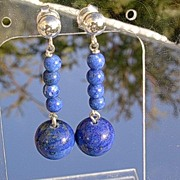 Sterling Multi Lapis Lazuli Dangle Earrings