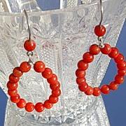 SALE Sterling Multi Coral Hoop Earrings