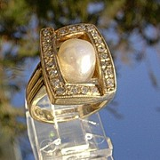 14kt Vintage Genuine Pearl/Multi Diamond Ladies Ring