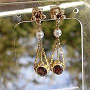 14kt Vintage Multi Garnet/Freshwater Pearl Dangle Earrings