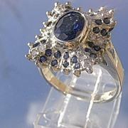 14kt White Gold Multi Sapphire/Diamond Cocktail Ladies Ring