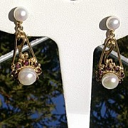 Sterling/Vermeil Finish Freshwater Pearl and Garnet Dangle Earrings