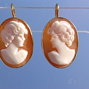14kt Vintage Shell Cameo Fraternal Twin Sisters Dangle Earrings