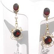 14kt Yellow Gold Vintage Opulent Garnet/Pearl Dangle Earrings