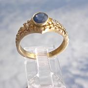 14kt Vintage Textured Sapphire/Diamond Ladies Ring