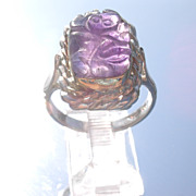 Sterling/9kt Pink Gold Carved Amethyst Frog Unisex Ring