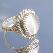 SOLD Sterling/9kt Pink Gold Grey Moonstone Ladies Ring
