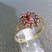 Sterling/Vermeil Finish Vintage Garnet Ladies Ring
