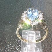 14kt Vintage Sparkling Aquamarine/Diamond Ladies Ring