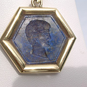 18kt Vintage Carved Lapis Lazuli Roman Emperor Octagon Pendant