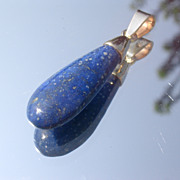 10kt Vintage Pear Shape Royal Blue Lapis Lazuli Pendant