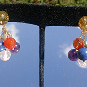 14kt Multi Gem Cluster Dangle Earrings