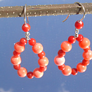 Sterling Multi Coral Hoop Dangle Earrings