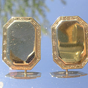 9ct Octagon Shaped Vintage Earrings