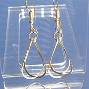 10kt Vintage Double Elongated Raindrop Dangle Earrings