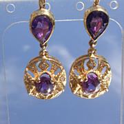 14kt Vintage Regal Purple Amethyst/Multi Diamond Dangle Earrings