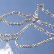18kt White Gold Vintage Long Link Chain