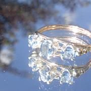 9kt Pink Gold Multi Aquamarine Ladies Ring