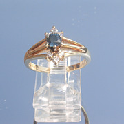 14kt Vintage Sparkling Multi Diamond/Sapphire Ladies RIng