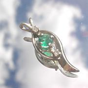14kt White Gold Petite Emerald/Diamond Pendant