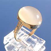 14kt Oval Grey Moonstone/Multi Diamond Ladies Ring