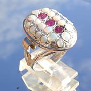 Sterling/9kt Oval Multi Opal/Ruby Ladies Ring