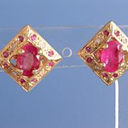 14kt Vintage Multi Ruby/Diamond Stud Earrings