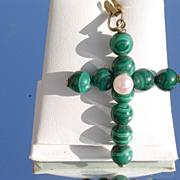 14kt Vintage Malachite and Culture Pearl Cross