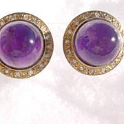 14kt Vintage Amethyst/Multi Diamond Stud Earrings