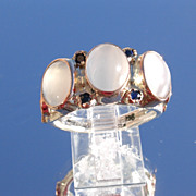 Sterling/9kt Multi Moonstone/Sapphire Ladies Ring