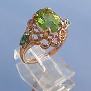 9kt Vintage Rose Gold Peridot/Multi Emerald Ladies Ring