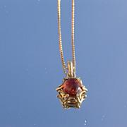14kt Vintage Garnet Pendant with Chain