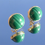 SOLD 14kt Vintage Round Cabochon Green Malachite Earrings