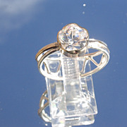 Sterling/9kt: Yellow Gold Floral Cut Cubic Zirconia Ladies Ring